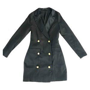 Blazer Dress Satin Lapel Gold Buttons - Size 2